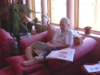 Tull reads the paper soon after his release from the hospital