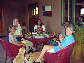 Mary Ann, Tull, Sheila, Roland and Lucinda dine on the portal